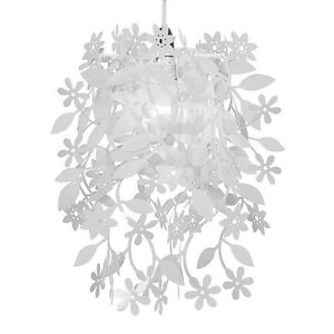 Modern white leaf flower garland ceiling pendant light lamp shade image is loading modern white leaf flower garland ceiling pendant light mozeypictures Image collections
