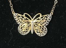 14K Yellow & White Gold Butterfly Necklace