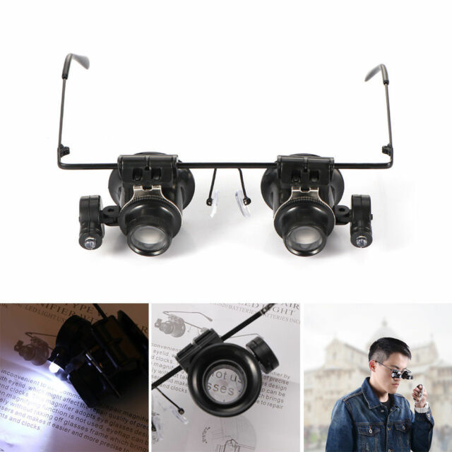 20X Glasses Type Binocular Magnifier Watch Repair Tool with Two LED Lights Wzc