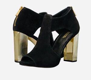 907f745af9 Women Mk Michael Kors Paloma Peep Toe Block Heel Shoe Suede Black ...