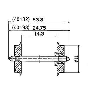 Fleischmann H0 00534003 DC-Gleichstrom Radsatz einseitig isoliert 11 mm NEU