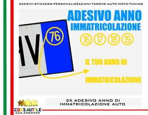 2-PZ-ADESIVO-ANNO-DI-IMMATRICOLAZIONE-AUTO-USATA-PERSONALIZZATO-PRESPAZIATO