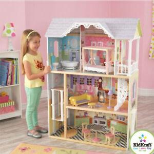3 Level Dollhouse Girls Kids Play Pretend Wooden Miniature House Toy Gift Set Ebay