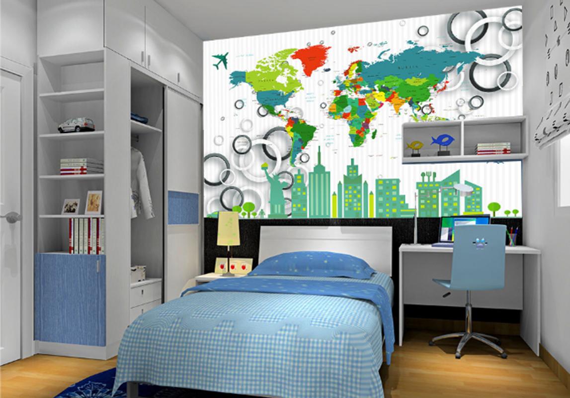 3D Weltkarte Stadt 788 Tapete Wandgemälde Tapeten Bild Familie DE Summer | Deutschland Frankfurt  | Haltbar  | Offizielle