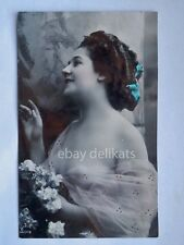DONNA sexy lady semi nude femme AK old postcard transparent