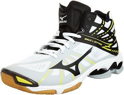 MIZUNO Wave Lightning Z MID Volleyball Shoes WHITExBLACK/Volt (Choose Size)