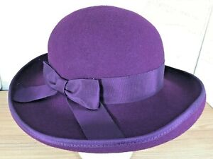 Vintage-Laura-Ashley-Womens-Purple-Hat-Ribbon-Bow-Felt-British-UK-Brim-Elegant