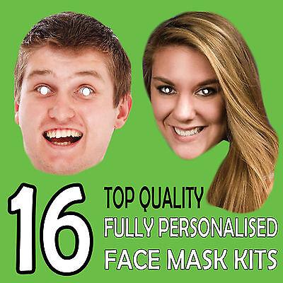 16 A Buon Mercato Custom Made Face Mask Fai Da Te Set Personalizzato Foto Stag Hen Birthday-mostra Il Titolo Originale Bello A Colori