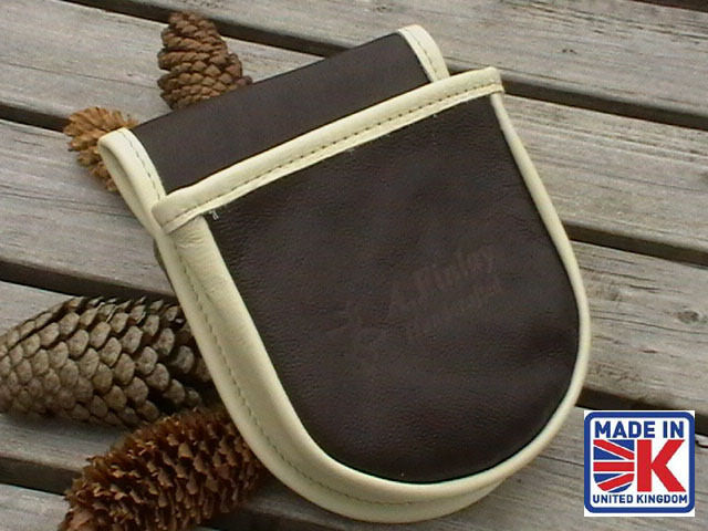 LEATHER SHOOTING CARTRIDGE BAG POUCH CLAY PIGEON SKEET SHOOTING SHOOTER CBROWNM