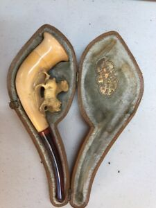 RARE-1800-039-s-Antique-Meerschaum-Pipe-with-Case-2-Dogs-Terrier