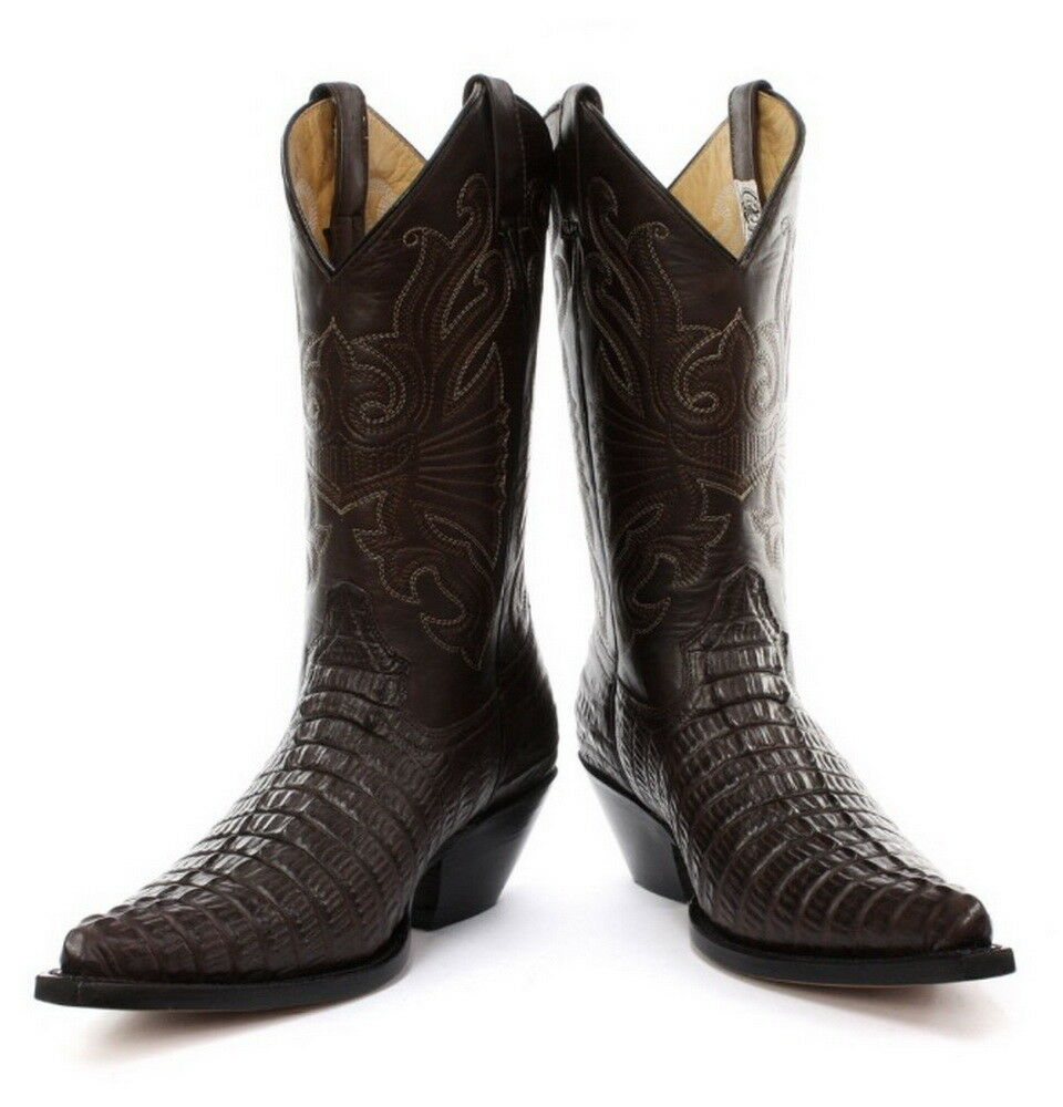 Grinders Carolina Brown Western Cowboy Real Leather Boots with crocodile pattern