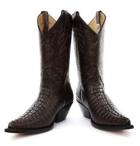 en soldes 9d993 4ce68 Détails sur Grinders Carolina Marron Cowboy Western Cuir Véritable Bottes  Avec Crocodile Pattern- afficher le titre d'origine