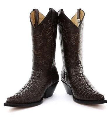 Brioso Grinders Carolina Cowboy Western Marrone Vera Pelle Stivali Con Motivo Coccodrillo-mostra Il Titolo Originale Essere Accorti In Materia Di Denaro