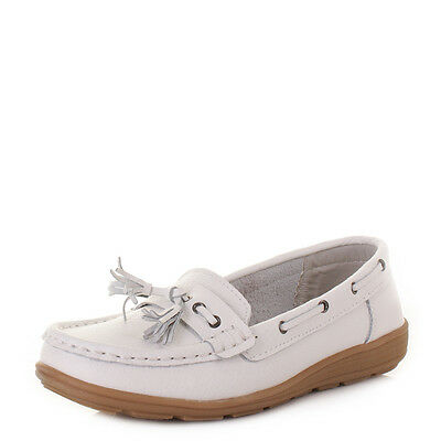 Womens Flat Comfort Leather Loafers Casual Boat Shoes Ladies Size 3-8