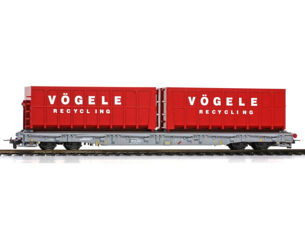 Bemo 2291122 Güterwagen ACTS-Tragwagen R-w 8202 RhB mit Vögele Recycling Behälte
