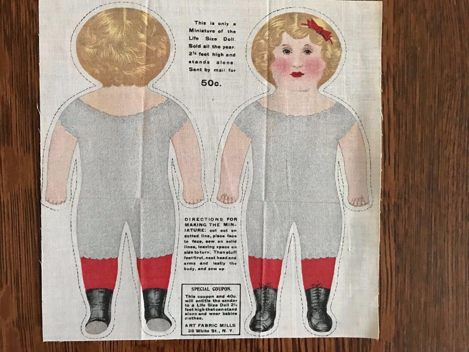 Antiguo Arte sin cortar Paño Tela Mills Miniatura De 8  muñecas de tamaño natural