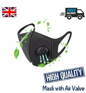 Breathable Washable Face Mask With Breathing Valve Black Uk Ebay