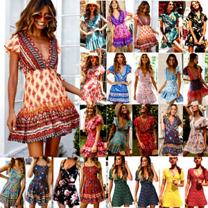 Womens Wrap Leopard Print Paisley Summer V Neck Dress Causal Holiday Beach Wear