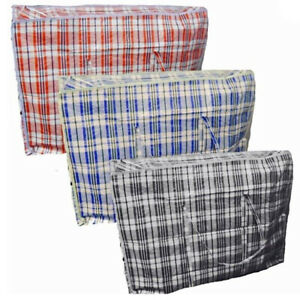 Large-Check-Design-Zipper-Shopping-Laundry-Bag-60-X-50-X-25cm-Colours-May-Vary