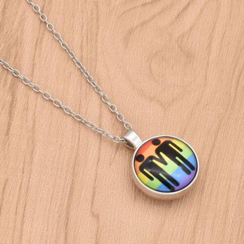 1pc Lesbian Gay LGBT Pride Rainbow Pendant Necklace Charm Unisex Jewelry