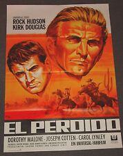 EL PERDIDO - A1 PLAKAT / ROCK HUDSON + KIRK DOUGLAS / GRAPHIK : KLAUS DILL