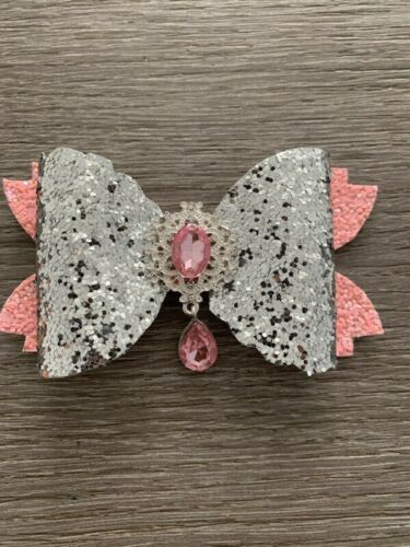 """Handmade 4/"""" Pink And Silver glitter   hair bow on a clip"""