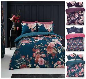 Lujo-Flora-Edredon-Reversible-Impreso-Funda-de-almohada-Juego-de-cama-GC