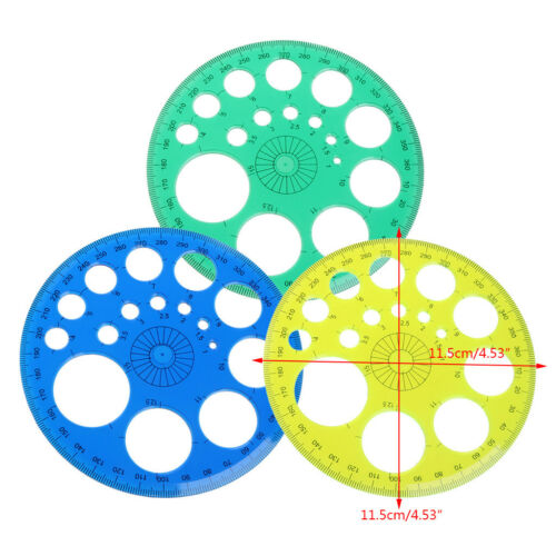360 Degree Protractor All Round Ruler Template Circle School Drafting Supplies