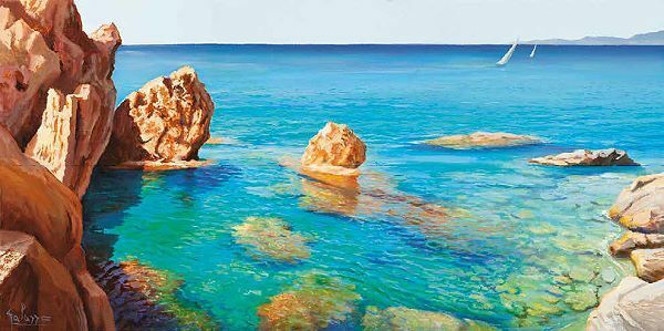 Adriano Galasso  Cala del Vento Keilrahmen-Bild Leinwand Meer Küste Felsen blau