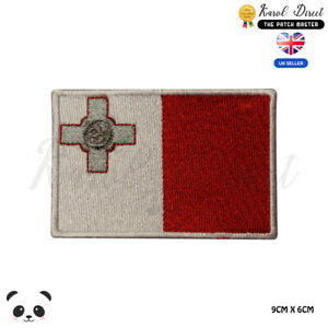 MALTA-National-Flag-Embroidered-Iron-On-Sew-On-Patch-Badge-For-Clothes-etc