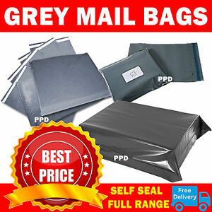 Grey-Mailing-Bags-Strong-Poly-Postal-Postage-Post-Mail-Self-Seal-All-Sizes-Cheap