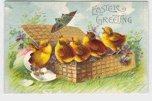 ANTIQUE-POSTCARD-EASTER-CHICKENS-CHICKS-BASKET-BUTTERFLY-EGGS-VIOLETS-EMBOSSED-E