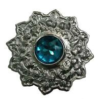 Fly Plaid Brooch Stone Sky Blue Chrome Finish 4/scottish Kilt Fly Plaid Brooch