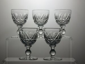 LEAD-CRYSTAL-CUT-GLASS-SHERRY-PORT-GLASSES-SET-OF-5