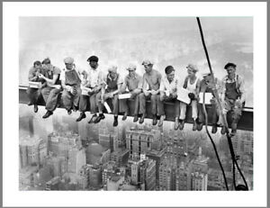 A0 A1 A2 A3 A4 poster print 4 glass frame work men Lunch New York Vintage photo