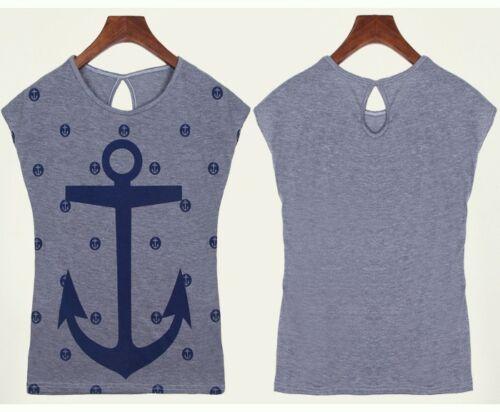 T-Shirt Damen Anker Sailor Maritim XS S M Rockabilly Shirt