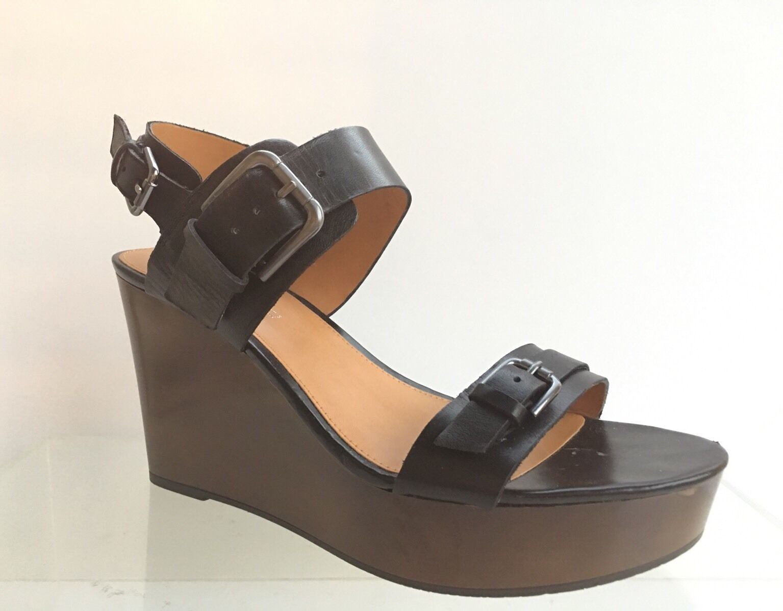 Womens Franco Sarto Divine Black Wedge Sandals 8 M