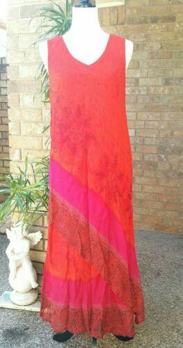Vintage PHOOL Dress Large Long layered Rayon Beade