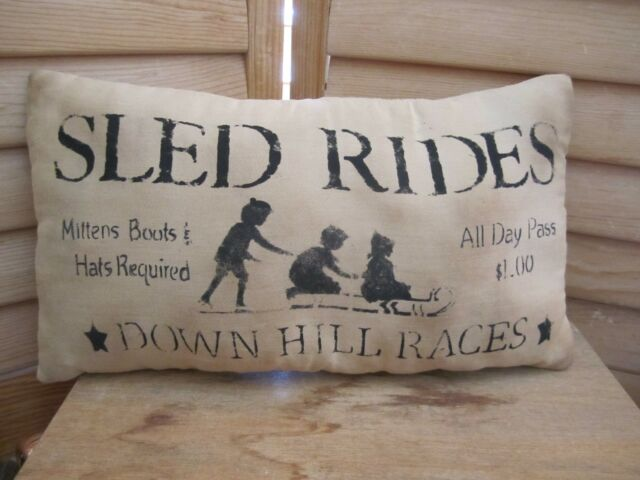 Primitive Stenciled Pillow - SLED RIDES - Winter - Christmas
