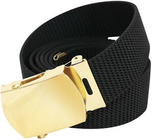 Black Nylon Tactical Web Belt w  Gold Buckle 54