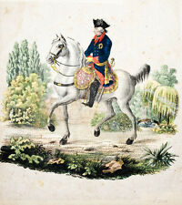 c1830 Friedrich II., der Große Koloriertes Lithographie-Porträt
