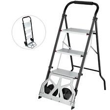 3 Steps Ladder Cart 2 In 1 Convertible Step Ladder Folding Hand Truck Trolley