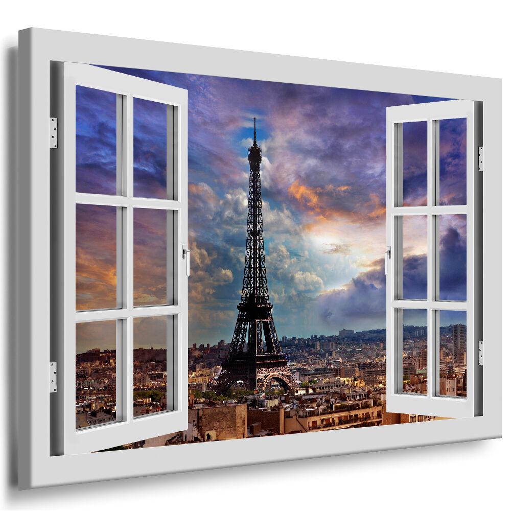 Bild auf Leinwand - Fensterblick Paris Eifeltrum Wolkig - AA0324