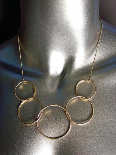 CHIC MINIMALIST Artisanal Thin Gold Metal Rings Drape Necklace