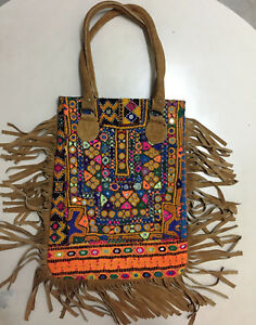 Indian Vintage Leather Fringe Shoulder Bag Ethnic Boho Banjara Gypsy ... 14cea7b8c86a8