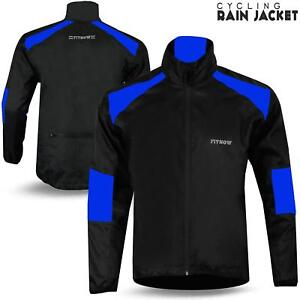 Mens Cycling Jacket High Visibility Waterproof Running Hi Viz Top Rain Coat NEW