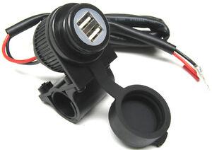 2-fach-USB-Bordsteckdose-12V-5V-Ladestecker-Steckdose-Lenkerhalter-mit-Kabel