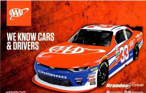 "2017 BRANDON JONES /""BOB SUMEREL TIRE AAA/"" #33 NASCAR XFINITY SERIES POSTCARD"