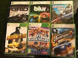 6 X Xbox 360 Juiced 2 Driver San Francisco F1 Race Stars Sega Rally Grid Blur Ebay