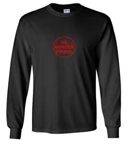 Nos-Rojo-patrulla-de-frontera-con-el-logotipo-de-la-inmigracion-Camiseta-Trump-Negra-camisa-de